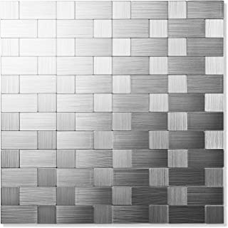 Yipscazo Peel and Stick Tile Backsplashes, Stainless Steel Stick on Wall Tiles for Kitchen (Sample)