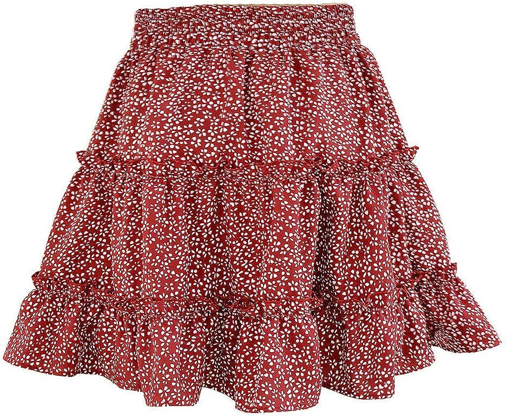 EDCRF Women's Spring Summer Casual Boho High Waist Ruffle Floral Print Beach Short Skirt