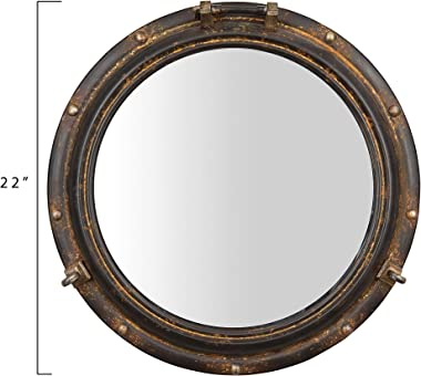 "Creative Co-op Distressed Metal Port Hole Reflective Framed Mirror, 22"" L x 22"" W x 3"" H, Rust"