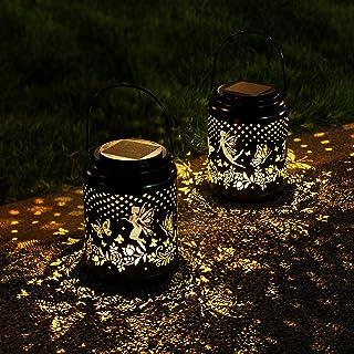 Solar Fairy Lanterns Outdoor Hanging 2 Pack, Metal Decorative Garden Lights Waterproof Solar Table Light for Garden, Pati...