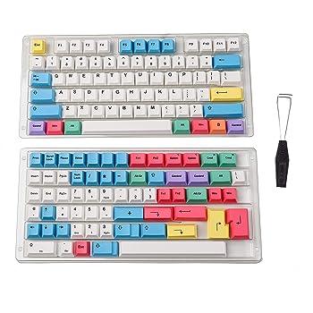 HLOIPYUR Mechanical Keyboard 64key Metal Shell Custom Light Cherry Profile kecap dye-subbed keycaps