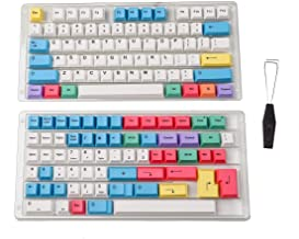HK Gaming Dye Sublimation Keycaps - Cherry Profile - Thick PBT Keysets for Mechanical Keyboard (139 Keys, Chalk)