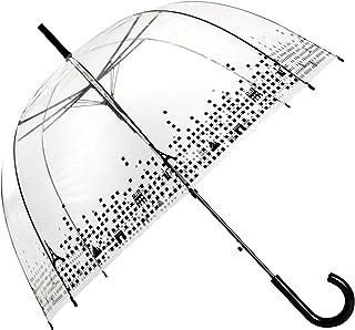 SMATI Paraguas Largo Transparente cobos Negro Paris Forma de Campana con su apuerta automatica