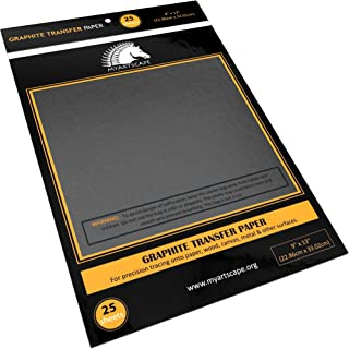 """Graphite Transfer Paper - 9"""" x 13"""" - 25 Sheets - Waxed Carbon Paper for Tracing - MyArtscape (Black)"""