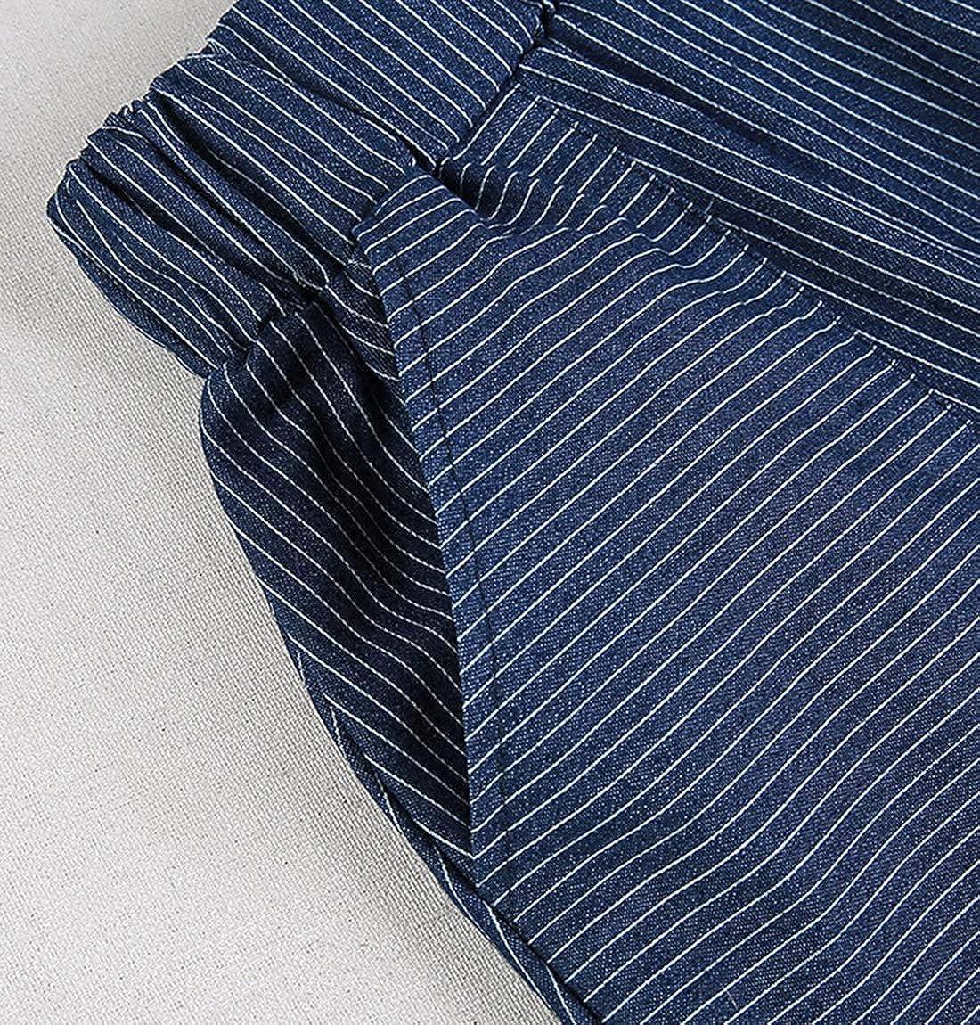 Uaneo Women's Spring Retro Casual Elastic Waist Pleated Below Knee Denim Skirt (Blue, Large)