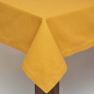HOMESCAPES Nappe de Table Ronde, Linge de Table en Coton uni Jaune Moutarde - 178 cm