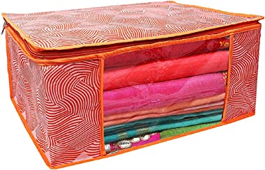 Kuber Industries Laheriya Printed Non Woven 4 Pieces Saree Cover and 4 Pieces Underbed Storage Bag, Cloth Organizer for Stora