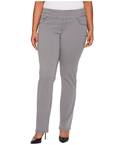 Jag Jeans Plus Size Peri Pull-On Straight Leg Pants in Bay Twill (Grey Streak) Women