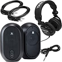 JBL Professional 1 Series 104 Compact Powered Desktop Reference Monitors (sold as pair) Bundle with Tascam Headphones Model TH-02-B plus 2 10ft 1/4in TRS Male to Male Cables