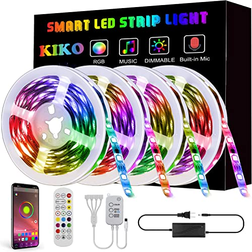 LED Strip Lights,65.6ft 20m 4X16.4ft Ultra-Long KIKO Smart Led Lights SMD 5050 RGB Color Changing Rope Lights with Bl...