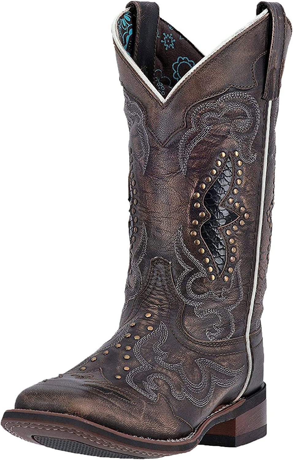 Laredo Womens Spellbound Studded Square Toe Western Cowboy Dress Boots Mid Calf Low Heel 1-2