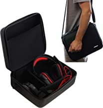 Navitech Black Rugged Headphone/Headphones Case Cover Compatible with The Audio-Technica ATH-ADG1X