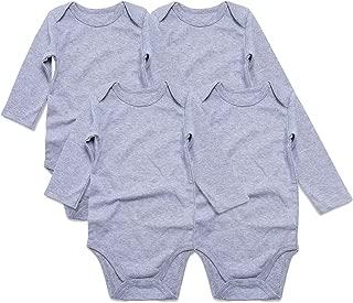 SOBOWO Neutral Unisex Baby Bodysuit, Infant Long Sleeve Onsies, Newborn Girls' Boys' Cotton Romper Pack of 4