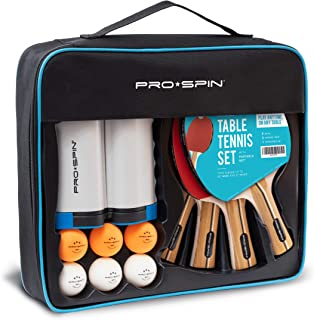 PRO SPIN Play Anywhere Portable Ping Pong Set – 4-Player Kit with Ping Pong Net for Any Table, Premium Ping Pong Paddles, 3-Star Balls, Convenient Storage Case   Table Tennis Set with Retractable Net