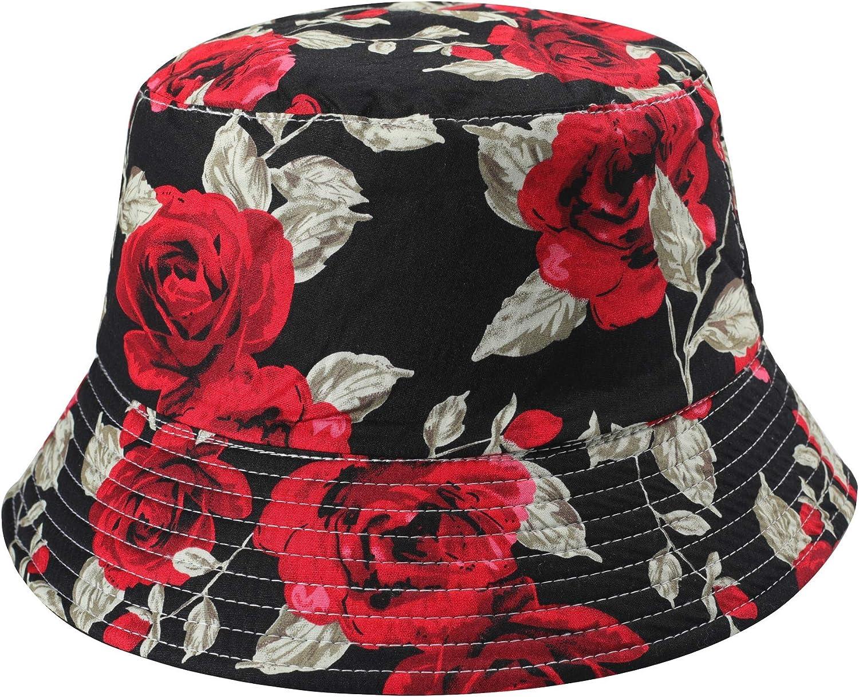 Unisex Funky Floral Plant Rainforest Print Canvas Bucket Hat Fishmen Cap for Women Men-40