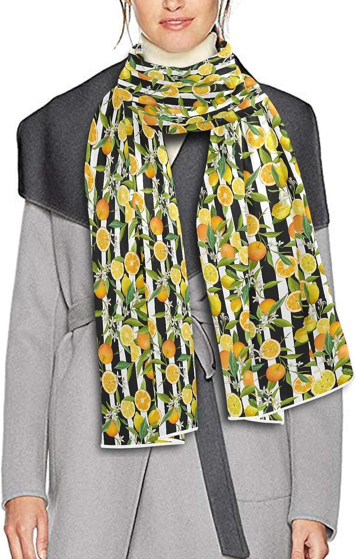 Scarf for Women and Men Orange Lemon Stripe Shawl Wraps Blanket Scarf Warm soft Winter Oversized Scarves Lightweight