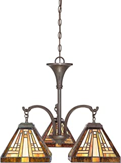 Quoizel TFST5103VB Stephen Tiffany Mini Chandelier, 3-Light, 300 Watt, Vintage Bronze (20