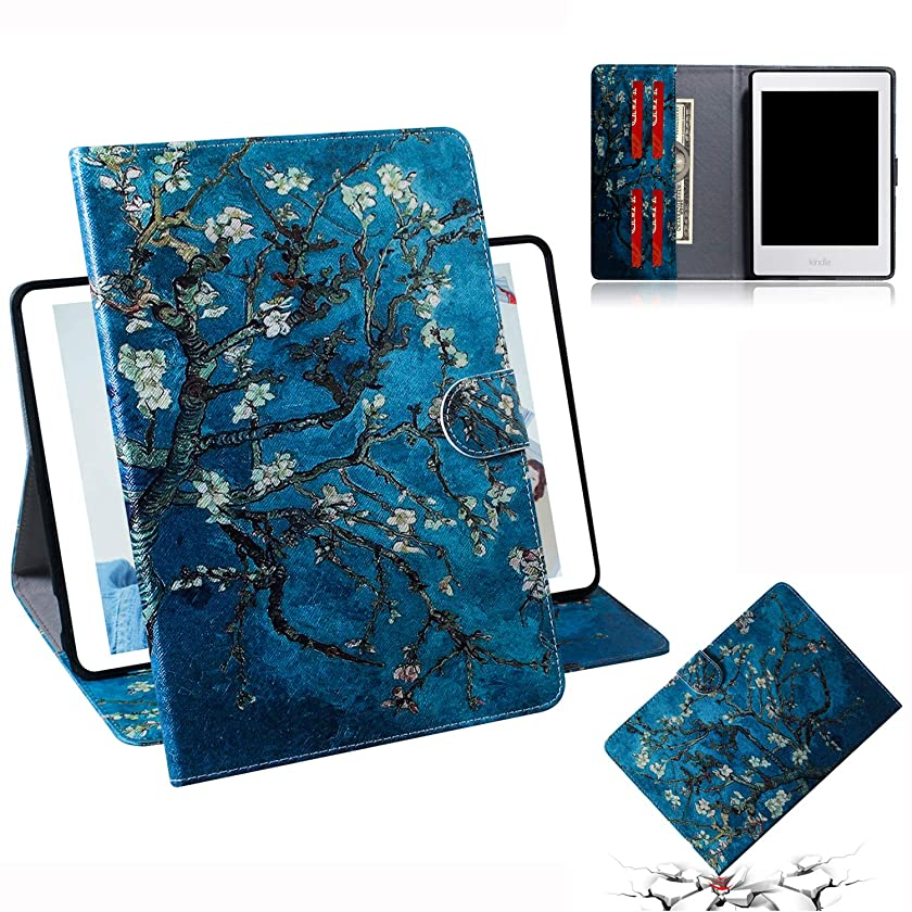 Changjin Kindle Paperwhite Case, PU Leather Smart Cover with Card Slot for Kindle Paperwhite 1 2 3 4 (Apricot Flower)