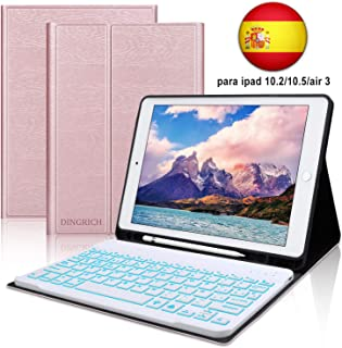 Funda Teclado iPad 10.2 Español,Dingrich Funda Teclado (Incluye Ñ) para iPad 10.2 2019 7 Generación/10.5 2017/Air 3,Bluetooth 7 Colores Retroiluminados Desmontable iPad Teclado Auto Dormir/Despertar