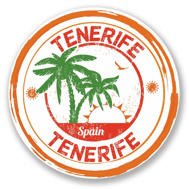 2 x 10 cm Tenerife España vinilo adhesivo para portátil coche etiqueta #6102 (10 cm x 10 cm): Amazon.es: Coche y moto