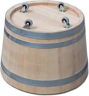 Nouveau fabriqué tonneau, bac à fleurs, jardinière, fût de chêne - en bois massif de chêne, avec roulettes (4) (D60 H40 av...