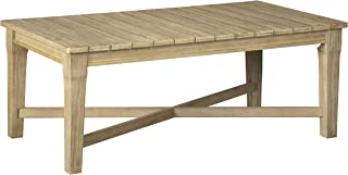 Ashley Furniture Signature Design - Clare View Outdoor Rectangular Cocktail Table - Slatted Top - Eucalyptus Wood - Beige