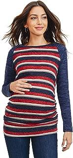 HELLO MIZ Women's Maternity Sweater Knit Tops - Long Sleeve, Ruched, Raglan, Casual, T-Shirts