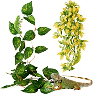 Reptile Plants Hanging Vines Climbing Terrarium Plant Tank Habitat Decorations with Suction Cup for Lizards Geckos Snake Chameleon Iguana Crab earded Dragons Tree Frog Toads Salamanders (Green+Yellow)