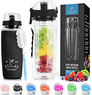 Botella de agua con infusor de frutas Zulay (capacidad de 34 onzas) con funda – sin BPA antideslizante agarre y tapa abati...