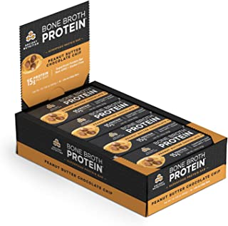 Ancient Nutrition Bone Broth Protein Bars, Peanut Butter Chocolate Chip, Dairy Free, Gluten Free, Naturally Flavored Snack Bar, 17g Protein, 12 Count Pack