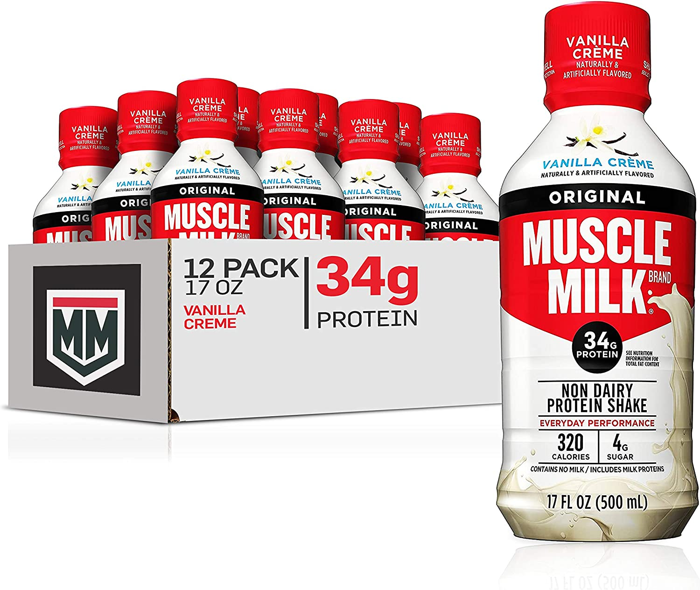 Muscle Milk Original Protein Shake, Vanilla Crème, 34g Protein, 17 FL OZ, 12 Count
