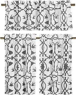 3 Piece Semi Sheer Window Curtain Set: Botanical Design, 2 Tiers, 1 Valance (Gray and White)