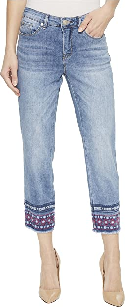 "Lightweight Stretch Denim 25"" Capris with Embroidery At Hem in Blue Cloud"