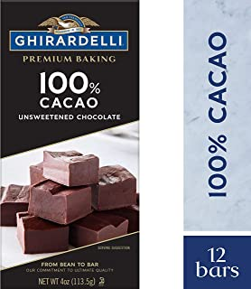 Ghirardelli Premium Baking Bar, Unsweetened Chocolate, 4 Ounce (Pack of 12)