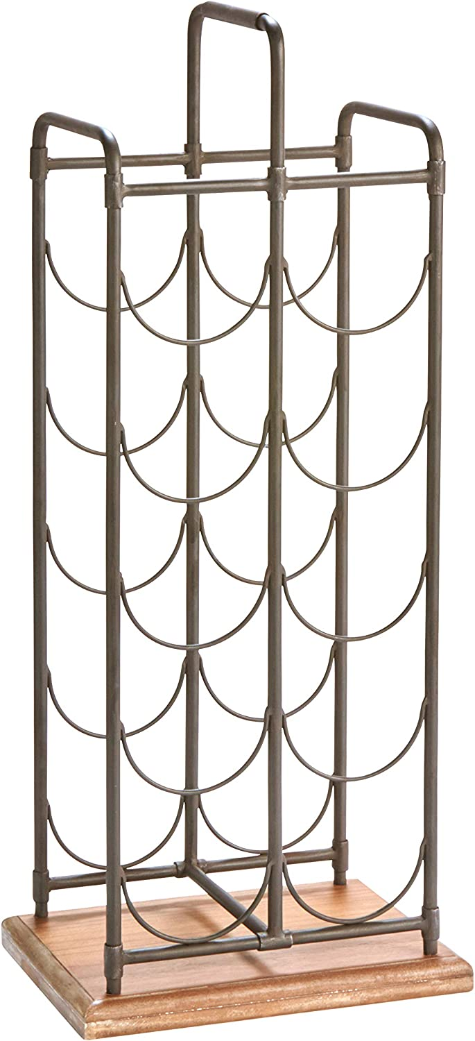 Stone & Beam Contemporary Iron Wine Rack, 27.17 H, Black, Dark Wood