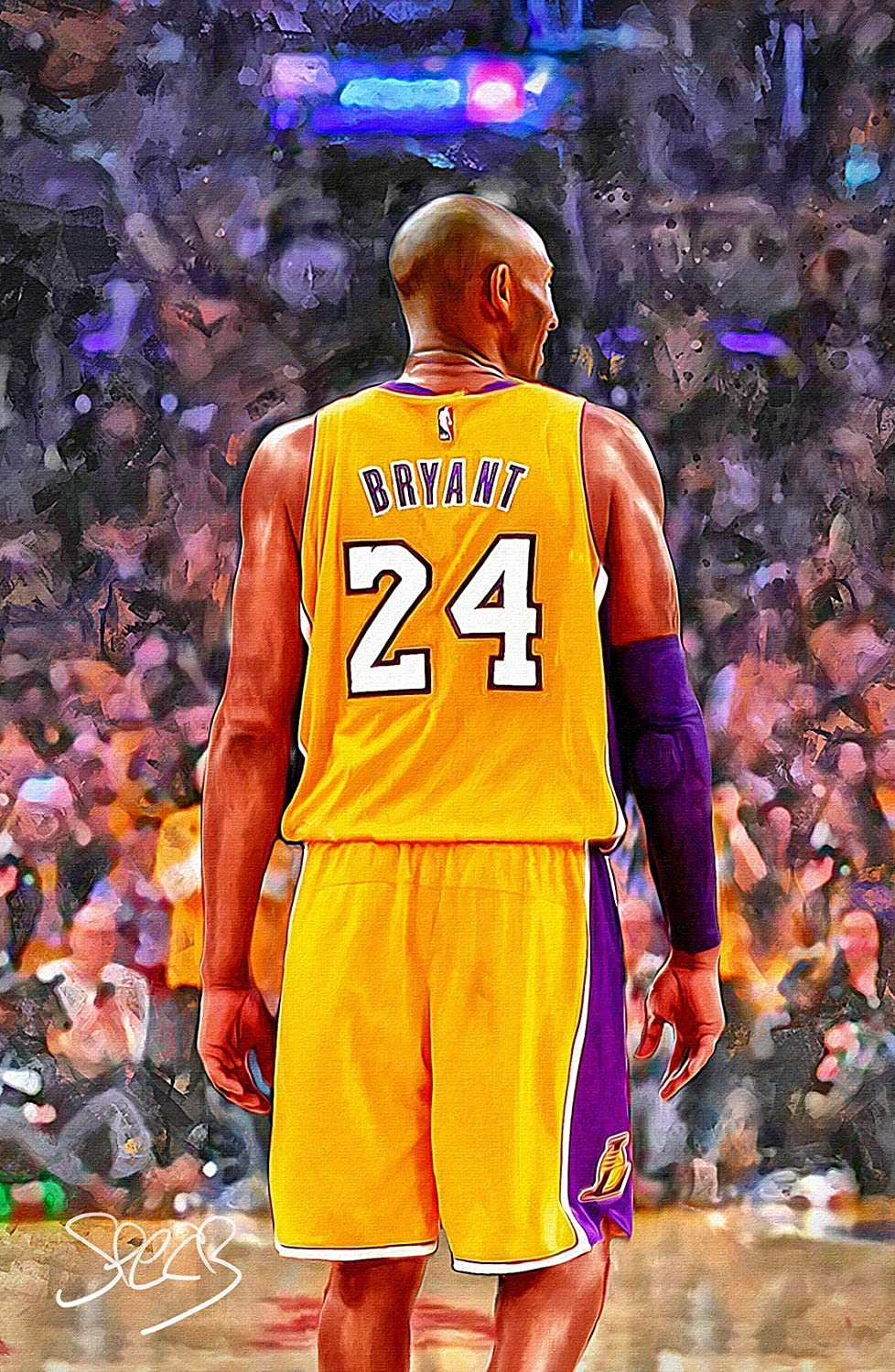 Artist Hand-signed Kobe Bryant Poster Print 11x17 Original Fine Art with #24 Jersey By Mark Spears