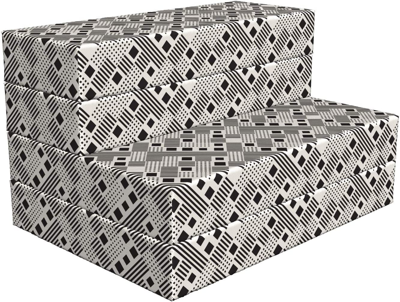 Lunarable Abstract Foldable Mattress Stripes Portland Mall Geometric Squares Same day shipping