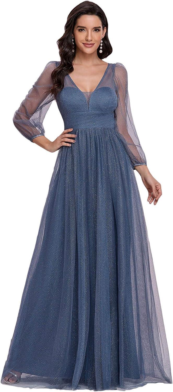 Ever-Pretty Women V Neck Long Sleeve A Line Sparkle Tulle Formal Dress 0292