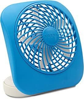 O2COOL Treva 5-Inch Portable Desktop Air Circulation Battery Fan | 2 Cooling Speeds, Compact Folding & Tilt Design, Light Blue
