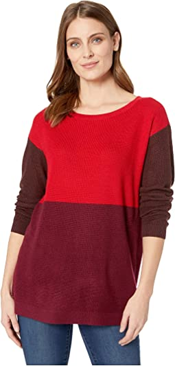 Long Sleeve Crew Neck Color Block Sweater