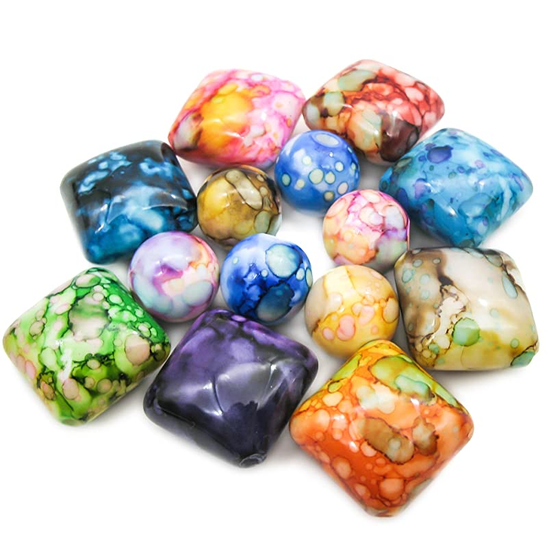 TOAOB Bulk Mixed Color Round and Square Acrylic Beads Accessories for DIY Pack of 40pcs
