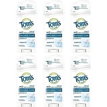 Tom's of Maine Original Care Deodorant, Natural Deodorant, Deodorant, Unscented, 2.25 Ounce, 6-Pack (SG_B001EJOPHK_US)