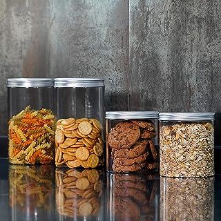 Annfly Lot de 2 bocaux en polyéthylène de qualité alimentaire avec bouchon à vis en aluminium pour aliments recyclables sa...