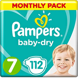 Pampers Size 7 Baby-Dry Nappies, 112 Count, MONTHLY SAVINGS PACK, Air Channels for Breathable Dryness Overnight (15+ kg / ...