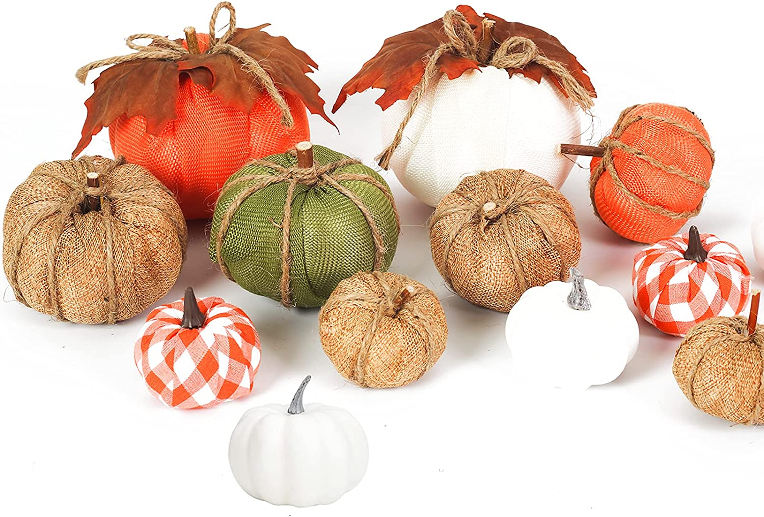 UNIVIVO 12pcs Farmhouse Fall Pumpkins Decor, Large Mini Mixed Fake Fabric Pumpkin with Leaves for Halloween Fall Thanksgiving Home Fireplace Tiered Tray Mantle Decoration