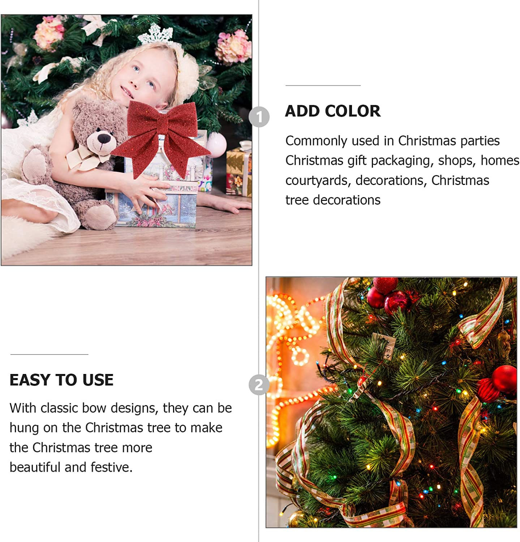 Golden 35X30CM KESYOO Christmas Wreath Bows Xmas Glitter Bows Large Tree Bows Christmas Tree Ornaments for Christmas Tree Wreath Decoration