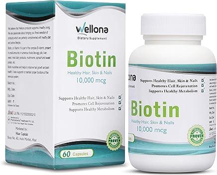 Wellona Biotin Maximum Strength Capsules For Hair, Skin & Nails - 10,000 Mcg (60 Capsules)