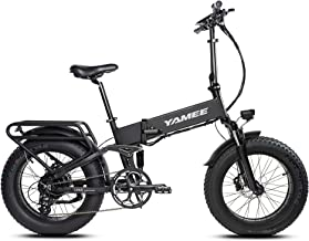YAMEE Fat Bear 48V 500W 20Inch Folding Electric Fat Tire Bike 11.6AH Removable Lithium Battery Electric Beach Bike Professional 8 Speed Adult Electric Bike