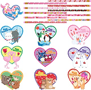 40 Pieces Valentine's Day Cards Heart Shaped Greeting Cards and Valentine Pencils, Valentines Day Party Favor for Kids, Va...