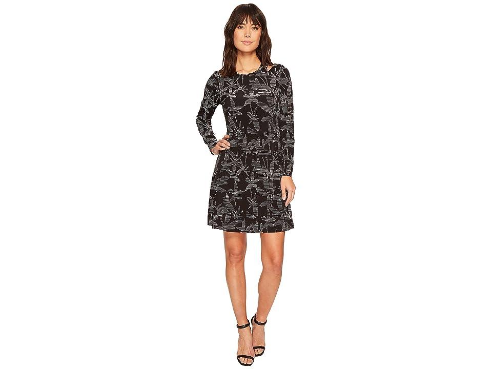 Ivanka Trump Matte Jersey Printed Cut Out Shoulder Long Sleeve Dress (Black/Ivory) Women